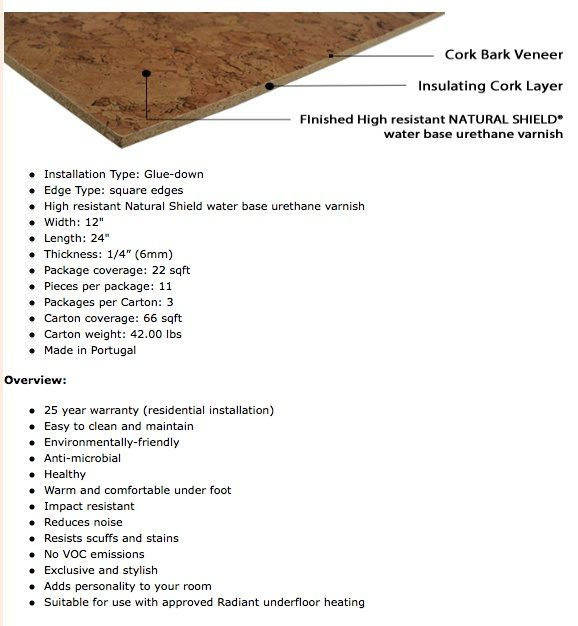 specification Cork Tile Hawthorne